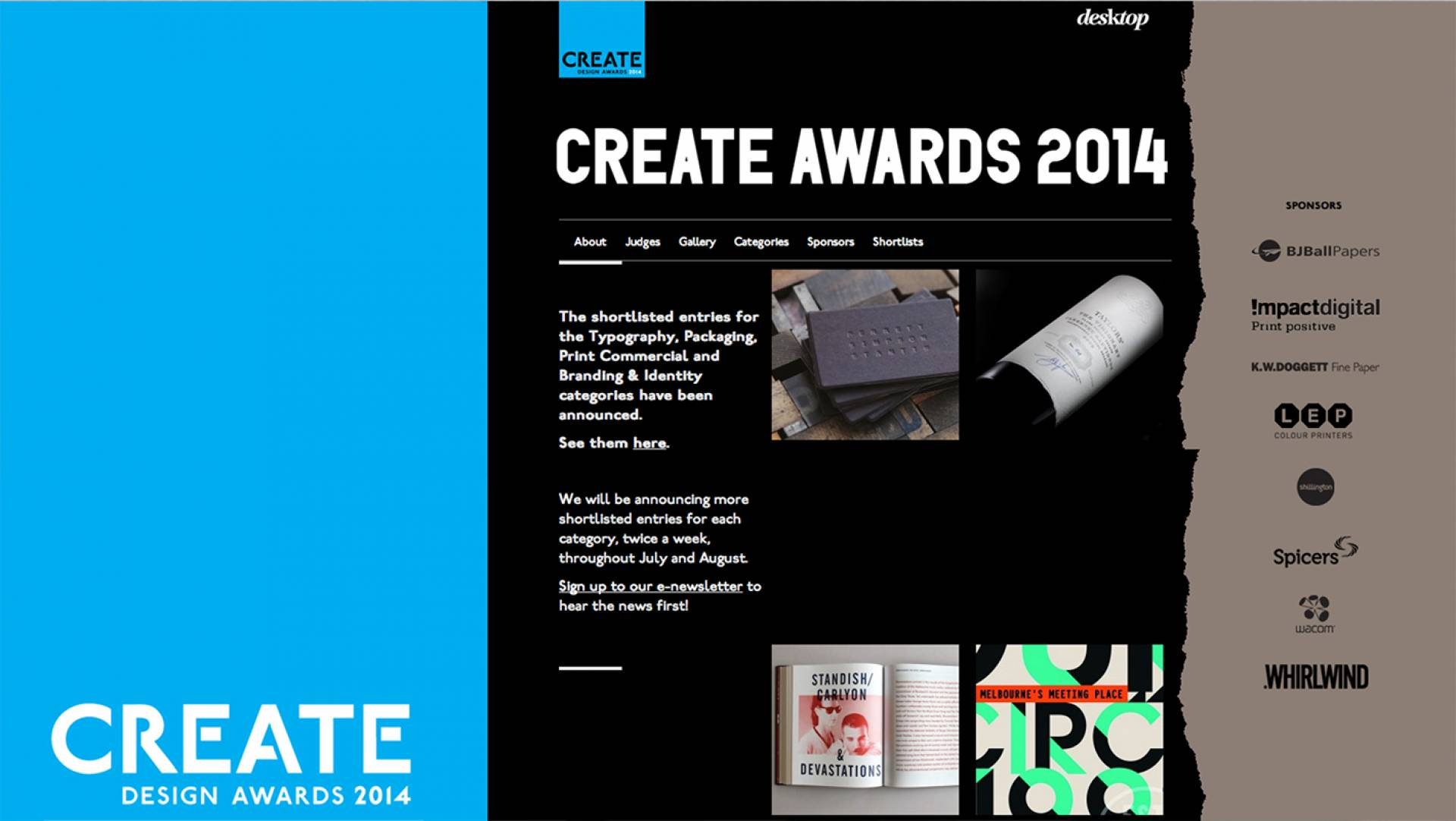 Create Awards 2014 Studio Equator Finalist Type