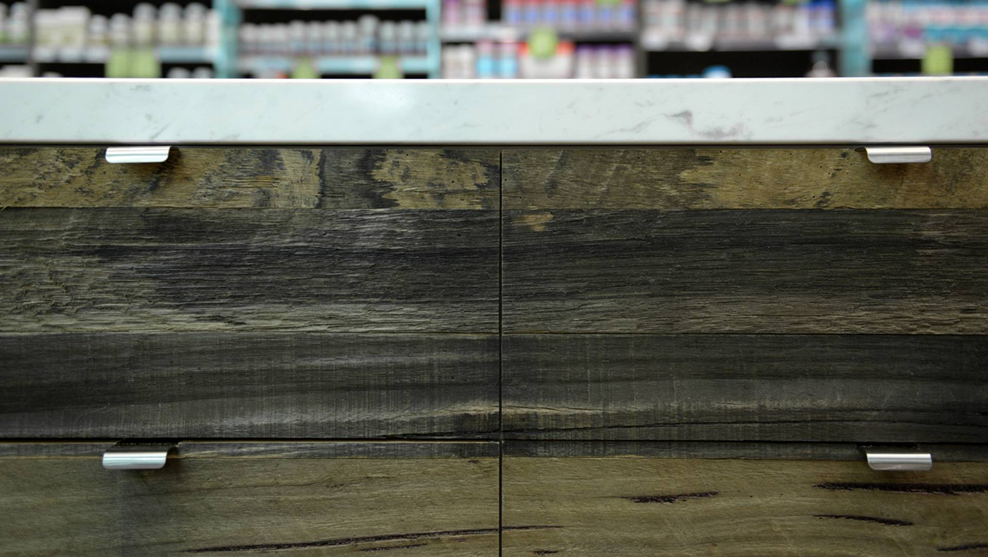 Pharmacy Design Melbourne-Reclaimed Timber Finishes
