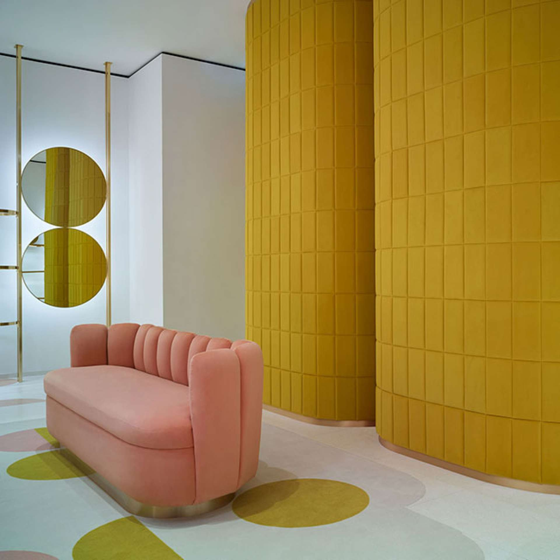 India Mahdavi uses pink and yellow velvet for first RED Valentino store in London