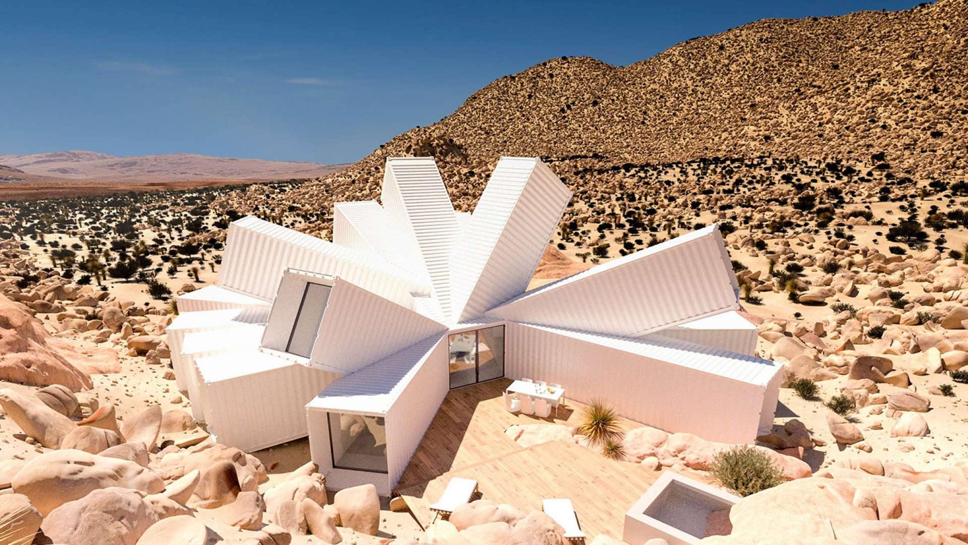 Splayed shipping containers form Joshua Tree Residence conceived by James Whitaker