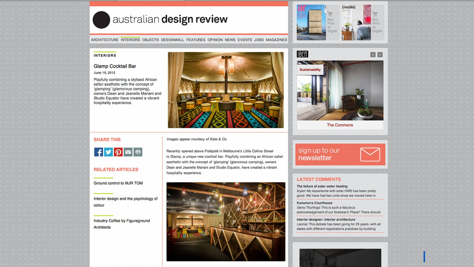 Australian Design Review Publishes Glamp Cocktail Bar Interiors